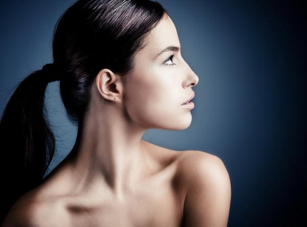 natural young woman beauty portrait profile studio shot